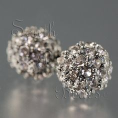 8mm pave beads in gunmetal black and black diamond crystals