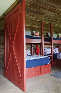 Red Bunk beds with Red Barn Door - Country - Boy's Room Bunk Bed Rooms, Bunk Beds Built In, Kids Bunk Beds, Country Boys Rooms, Country Barns, Bunk Bed Designs, Up House, Loft Spaces, Interior Barn Doors