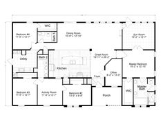 floor plan 5 bedrooms single story five bedroom tudor dream home pinterest tudor - 4 Bedroom House Plans