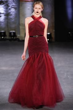 Fall 2012 Ready-to-Wear  stunning burgundy tulle Oscar worthy pleated drop waisted evening gown by Christian Siriano - Runway
