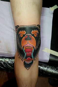 bear tattoo on knee myke chambers by Myke Chambers Tattoos,