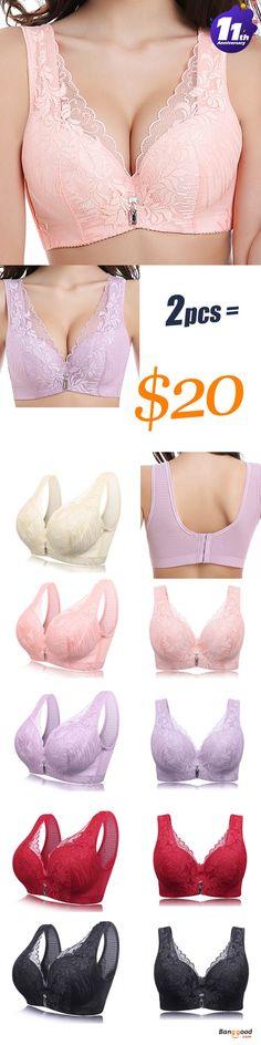 311305124a6f7 Women Plus Size Lace Push Up Full Coverage Comfy Breathable Plunge Vest Bra