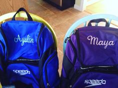 35L Speedo Swim bags monogrammed with the girls' names. Love, love, love!