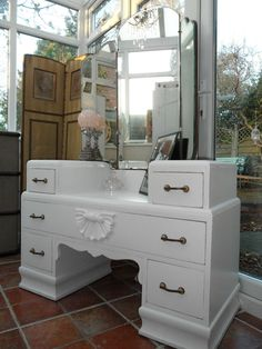 1939 Art Deco Vanity Dressing Table With Mirror In Shabby Distressed White  | Home~ Furniture | Pinterest | Dressing Tables, Vanities And Shabby