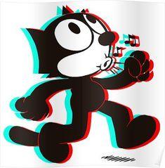 Felix The Cat D Poster * felix das plakat der katzen-d Felix The Cat D Poster * 3d Poster, Poster Prints, Felix The Cats, Glitch Art, Canvas Prints, Art Prints, Betty Boop, Cat Art, Cartoon Characters
