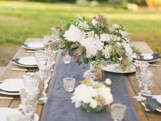 Non-Traditional Fall Inspired Tablescape | Color Palette: Grays + Greens + Dusty Purple + Muted Blues | Photography: Ashley Kelemen | More on #SMP: http://www.stylemepretty.com/2013/11/11/italian-wine-country-inspiration-shoot-from-ashley-kelemen-photography