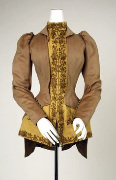 Tailored jacket, Gay Nineties, long button-down sleeve, embellished closure and hem, circa 1890s