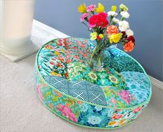 Learn how to make your own tufted patchwork floor cushion in this detailed tutorial by Sew4Home. (Ahhh)! - Sewtorial