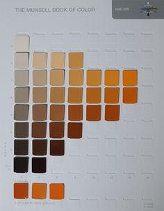 A page from a Munsell color chart. Learn how to read a color chart and how Munsell color notation works.