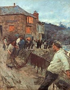 Stanhope Alexander FORBES 'The Old Fisherman's Rest, Newlyn 1907' oil on canvas signed 37 x 29 inches Exh. Fine Art Society  The Ferens Art Museum in Kingston-upon-Hull has a Stanhope Forbes painting from 1906, with the Fisherman's Rest in the background.