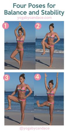 Follow us on Pinterest and pin this image for easy reference later. Four yoga poses for balance and stability