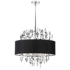 8 Light Crystal Chandelier with Black Shade (PIC218C-PC-BK)