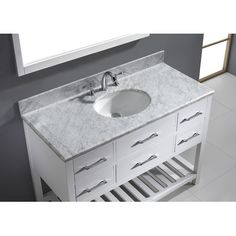 "Virtu Caroline Estate 48.8"" Single Bathroom Vanity Set with Carrara White Top and Mirror Base Finish: White, Sink Shape: Round, Faucet Finish: No F..."