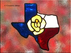 Yellow Rose of Texas in stained glass..