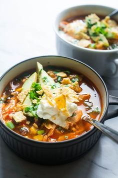 Pressure Cooker Chicken Tortilla Soup. All in one pot and bursting with flavor, this AhhMazing soup will NOT let you down.