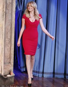 Kate Upton at Late Night With Jimmy Fallon show, February 2013. She struts: Kate strutted out onto the stage in sky-high leather Christian Louboutin heels