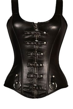 Punk Buckled Detail Straps Full Zipper Black Leather Corset