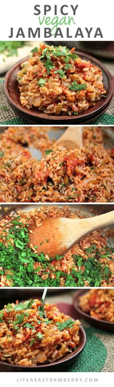 Spicy Vegan Jambalaya   This easy vegan recipe for jambalaya is full of fresh produce and gets a spicy kick from fresh jalapeños! Ready in under an hour - the perfect healthy vegan recipe for busy weeknights.