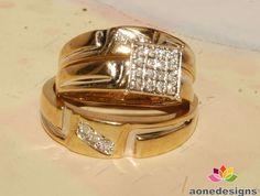 Trio Set 0.40 Carat(Tdw) Diamond Wedding Bands & Engagement Ring Man's & ladies  #aonedesigns
