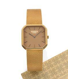 PATEK PHILIPPE  <br /> Ref. 3854/003, n° 1333668 / 2792974, vers 1984 <br /> Belle montre bracelet de soirée en or jaune 18K (750). Boîtier octogonal avec fond clippé. Cadran doré avec index