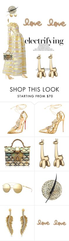 """Gold digger"" by pensivepeacock ❤ liked on Polyvore featuring Christian Louboutin, Giancarlo Petriglia, Lazy Susan, Mykita, Allurez, Sydney Evan, women's clothing, women, female and woman"