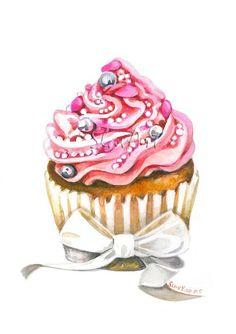 Pink Sweet Cupcake Still Life Print Watercolor Painting Fine Art Food Art Home Decor Realistic Kitchen art Illustration