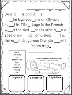 Ten morning messages with a WINTER GAMES theme that are aligned with Common Core are included in this packet. These work great for emergency sub plans or those days when you get pulled from class for a last minute meeting. Answers are included so you could also set this up as a self-checking writing center. $