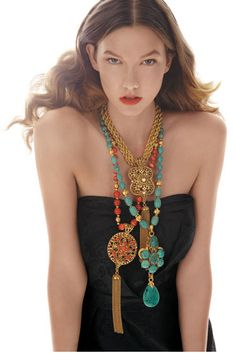 Karlie Kloss and Jose & Maria Barrera Gold Long Pendant Necklace - Karlie is related because she wore it (Photo Chunky Jewelry, Tassel Jewelry, Beaded Jewelry, Jewelery, Jewelry Necklaces, Beaded Necklace, Diy Jewelry, Starburst Earrings, Gold Statement Earrings