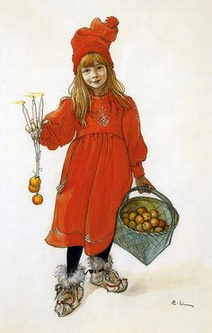 Carl Larsson (Swedish painter and interior designer and representative of the Arts and Crafts Movement) 1853 - Brita som Iduna (Iðunn) (Brita as Iduna (Iðunn)), lithograph, private collection Carl Larsson, Nordic Art, Scandinavian Art, Scandi Christmas, Christmas Art, Christmas Gnome, Christmas Lights, Lucas Museum, Illustration Noel
