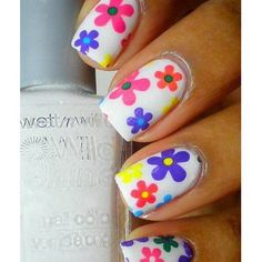 '60s style flowers nail art...how bright and colorful!  It is the dating game