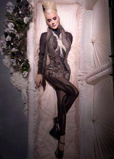 Haute Goth: Fashion Icon Daphne Guiness modeling in a casket † #fashion #hautegoth #goth #gothic #gothaesthetics #gothicsensibility #portrait #fashionicon #casket #DaphneGuinness