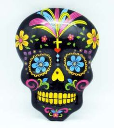 day of the dead masks | Black DAY OF THE DEAD Wall Mask!