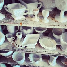 milk glass collection  Scarlett Scales Antiques - Franklin, Tennessee Hip Antique Boutique
