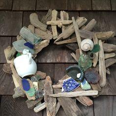 Sea glass and driftwood wreath