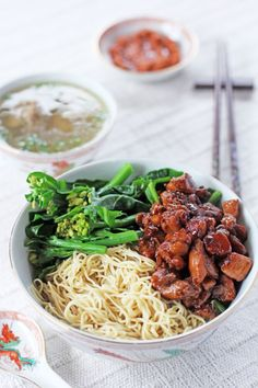 Mie ayam (Indonesian deconstructed chicken and meatball noodle soup)