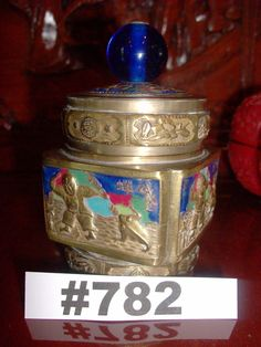 Vintage Chinese Brass Container with lid Highly Decorated Brass Tea Caddy from China 1910-1940 Trinket Box Asian Seed Box cobalt blue handle by VigorouslyVintage on Etsy