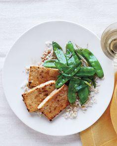 Broiled Tofu and Snow Peas