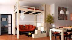 Find out all of the information about the Cinius product: loft bed / double / contemporary / wooden LETTO A SOPPALCO YEN. Furniture For Small Spaces, Small Rooms, Lofts, Double Loft Beds, Ceiling Bed, Wardrobe Bed, Attic Bed, Loft Bed Plans, Cool Bunk Beds