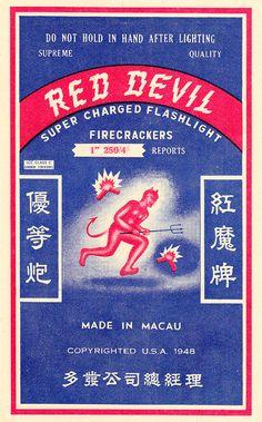 RED DEVIL - Brick Firecracker Label (1940's) by Aeron Alfrey, via Flickr
