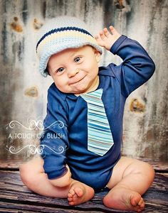 Get the Set and Save  Beanie and Tie Onesie Blue by WeChooseJoy, $38.50