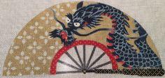 "Needlepoint Dragon Fan by Kirk & Bradley Style: KB1100 Size: 8"" x 4"" Mesh Count: 18"
