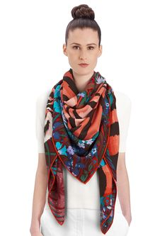 """2015 FW   Tyger Tyger   Cashmere and silk shawl, 55"""" x 55"""" (70% cashmere, 30% silk)   Alice Shirley   Ref: 242958S 08 Bordeaux/Bleu/Corail   US$1,100"""