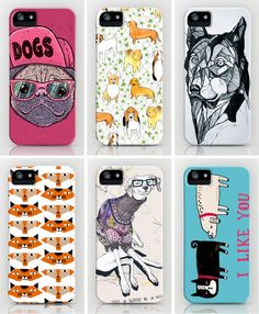 Top row, left to right: Dogs Case by Lime, City Dogs Case by Sian Keegan, Dog Case by Josiah Atkins  Bottom row, left to right: Cats and Dogs Case by Al Garcia, Dog Case by Anion, I Like You Case by Gemma Correll