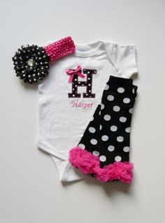 Personalized Onesie and Leg Warmer Monogram Baby Girl Gift Set Black White Polka Dot and Hot Pink on Etsy, $38.00