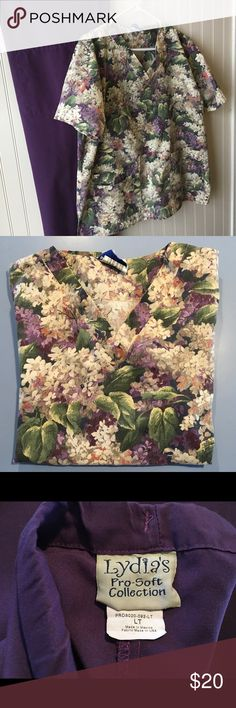 "Lilac floral scrub top and purple pants scrub set Spring is coming! Lilac floral print top has two double front pockets. Length is approx. 27 1/4"" from shoulder to hem. Scrub pants have a front pocket and drawstring waist.  The length is approx. 30 1/2"" inseam. Landau and Lydia Other"