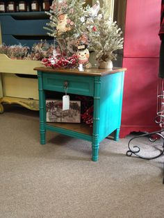 Nightstand, painted with Annie Sloan Chalk Paint (Florence) and waxed with clear & dark wax. Sold.