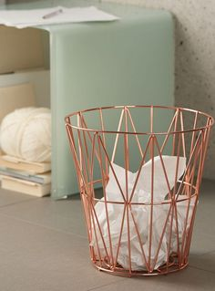 Maybe spray paint trash can this color? Torre and Tagus at Simons Maison A fashionable Scandinavian style piece with subtle geometric shapes in a chic metal finish: Rose Gold Room Decor, Rose Gold Rooms, Bedroom Ideas Rose Gold, Copper Bedroom Decor, Rose Gold Interior, Teenage Room Decor, Diy Room Decor, Home Decor, Marble Room Decor