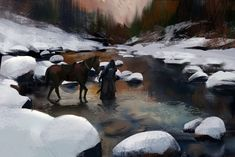 Horse and Traveler Crossing a Snowy River | ArtStation - sketches, Mikhail Palamarchuk | Knight
