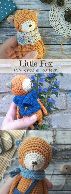 Eeek! I'm dying from the cuteness! I love foxes and this adorable little crochet pattern is amazing! Sweet little toy fox doll to make for any baby or child! #etsy #ad #pdf #crochetpattern #amigurumi #instantdownload