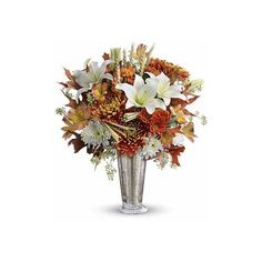 Harvest Splendor Bouquet (135 BRL) ❤ liked on Polyvore featuring home, home decor, floral decor, fall flower bouquet, harvest home decor, personalized home decor, white lily bouquet, silver home decor and flower home decor